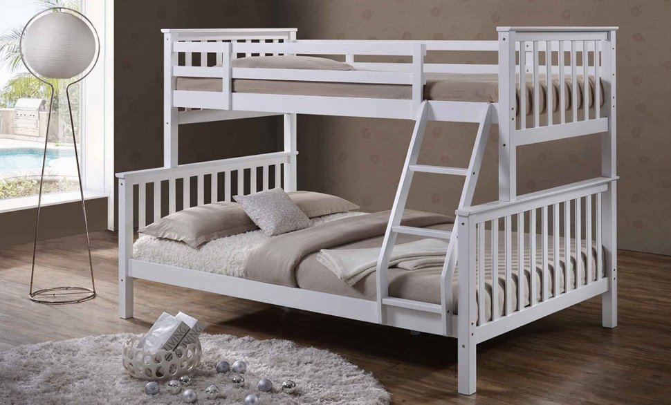 OSCAR WHITE WOODEN TRIPLE SLEEPER BUNK BED