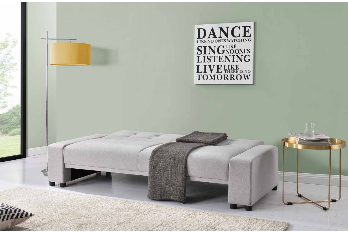 Chicago Upholstered Fabric Sofa Bed With Wireless Bluetooth Speakers Light Grey