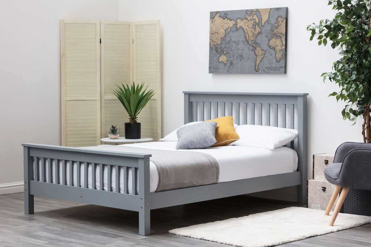 ADLINGTON GREY WOODEN DOUBLE BED