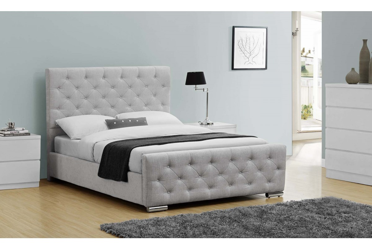 Buckingham Fabric Upholstered Bed Grey Double