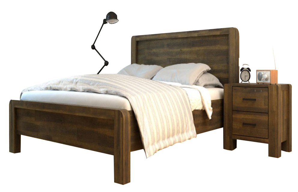 CHESTER SOLID HANDCRAFTED ACACIA WOODEN BED - TEAK (DOUBLE)