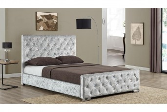 BEAUMONT FABRIC BED SILVER CRUSHED VELVET