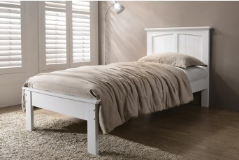 Beeston White Solid Wooden Shaker Style Bed Frame - Single