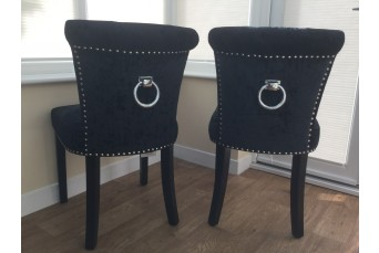 REGAL GLAM BLACK CRUSHED VELVET LUXURY FABRIC DINING / ACCENT CHAIRS (SET OF 2)