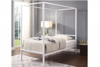 CHALFONT 4 POSTER WHITE METAL SINGLE BED