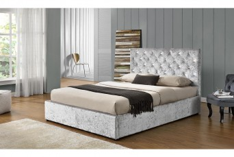 CHATSWORTH OTTOMAN STORAGE CRUSHED SILVER FABRIC BED - DOUBLE