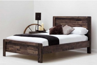 Chester Rustic Teak Wooden Double Bed + New York Empire REVO Memory Foam Mattress