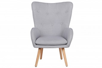 COVEN LIGHT GREY FABRIC UPHOLSTERED WINGBACK ARMCHAIR