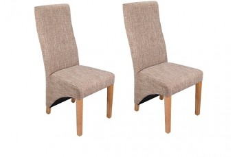 WAVE TWEED LUXURY FABRIC DINING / ACCENT CHAIRS (SET OF 2)