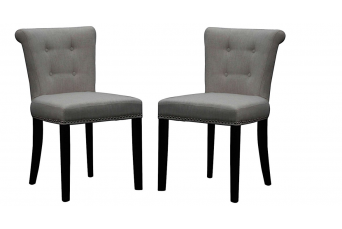 REGAL PLUSH NATURAL GREY LUXURY FABRIC DINING / ACCENT CHAIRS (SET OF 2)