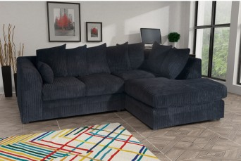 DYLAN JUMBO BLACK RIGHT HAND CORNER SOFA BY NEW YORK SOFA COMPANY