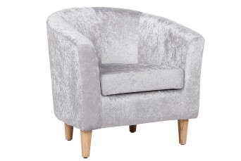 ENDON CHARCOAL GREY VELVET FABRIC TUB CHAIR