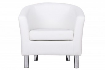 ENDON WHITE FAUX LEATHER TUB CHAIR