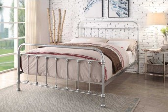Esher Chrome Metal Traditional Victorian Dormitory Bed Frame - Double