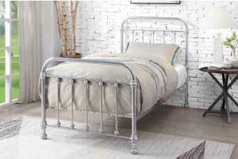 Esher Chrome Metal Traditional Victorian Dormitory Bed Frame - King