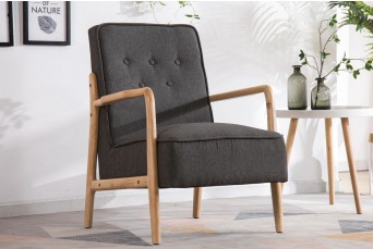 FARLEY CHARCOAL WOODEN ARM CHAIR