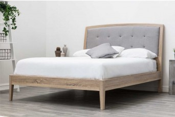 FRODSHAM WOODEN GREY FABRIC DOUBLE BED