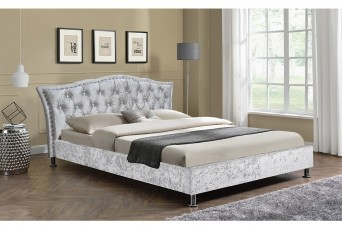 GEORGIO CRUSHED VELVET SILVER BED FRAME- DOUBLE