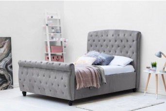 Hampton Grey Velvet Upholstered Double Bed + New York Liberty Hybrid Pocket Sprung Mattress