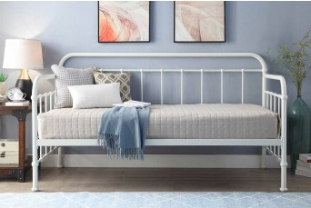 Harlow White Hospital Style Metal Day Bed with Guest Trundle - Single Size