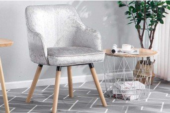 Hopton Crushed Silver Velvet Occasional Accent Chair