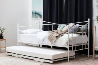 Ickleford White Metal Day Bed with Optional Guest Trundle - Single Size