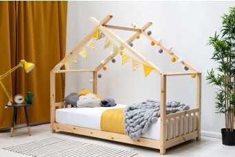 KIDS PINE WOODEN HOUSE CANOPY BED SINGLE