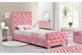 BEAUMONT CRUSHED  PINK SINGLE  BED