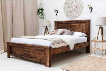 PLUMLEY CARAMEL WOODEN DOUBLE BED