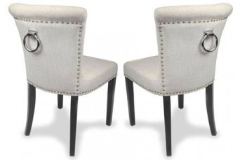 REGAL PLUSH NATURAL LINEN LUXURY FABRIC DINING / ACCENT CHAIRS (SET OF 2)