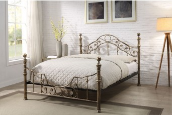 SALCOMBE ANTIQUED BRASS METAL DOUBLE BED