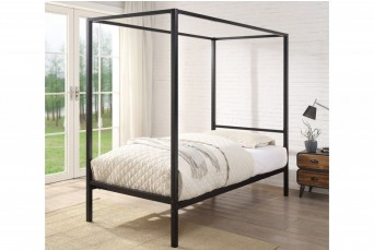 CHALFONT 4 POSTER BLACK METAL SINGLE BED