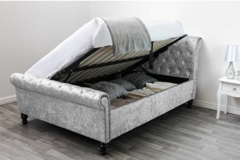 ST JAMES OTTOMAN SILVER CRUSHED DOUBLE BED