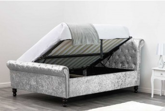 ST JAMES OTTOMAN SILVER CRUSHED KING BED