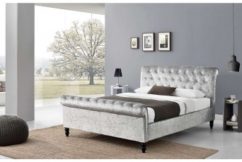 ST JAMES FABRIC  DOUBLE  BED - CRUSHED SILVER