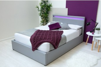 STANLAKE LED LIGHT GREY FABRIC OTTOMAN DOUBLE BED
