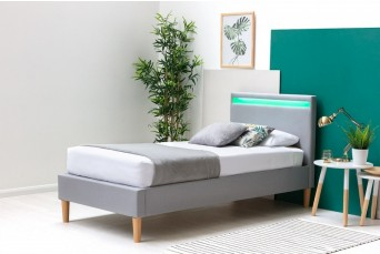 WENTWORTH LED GREY FABRIC SINGLE BED