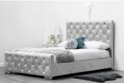 BUCKINGHAM FABRIC SILVER CRUSHED UPHOLSTERED BED - KING