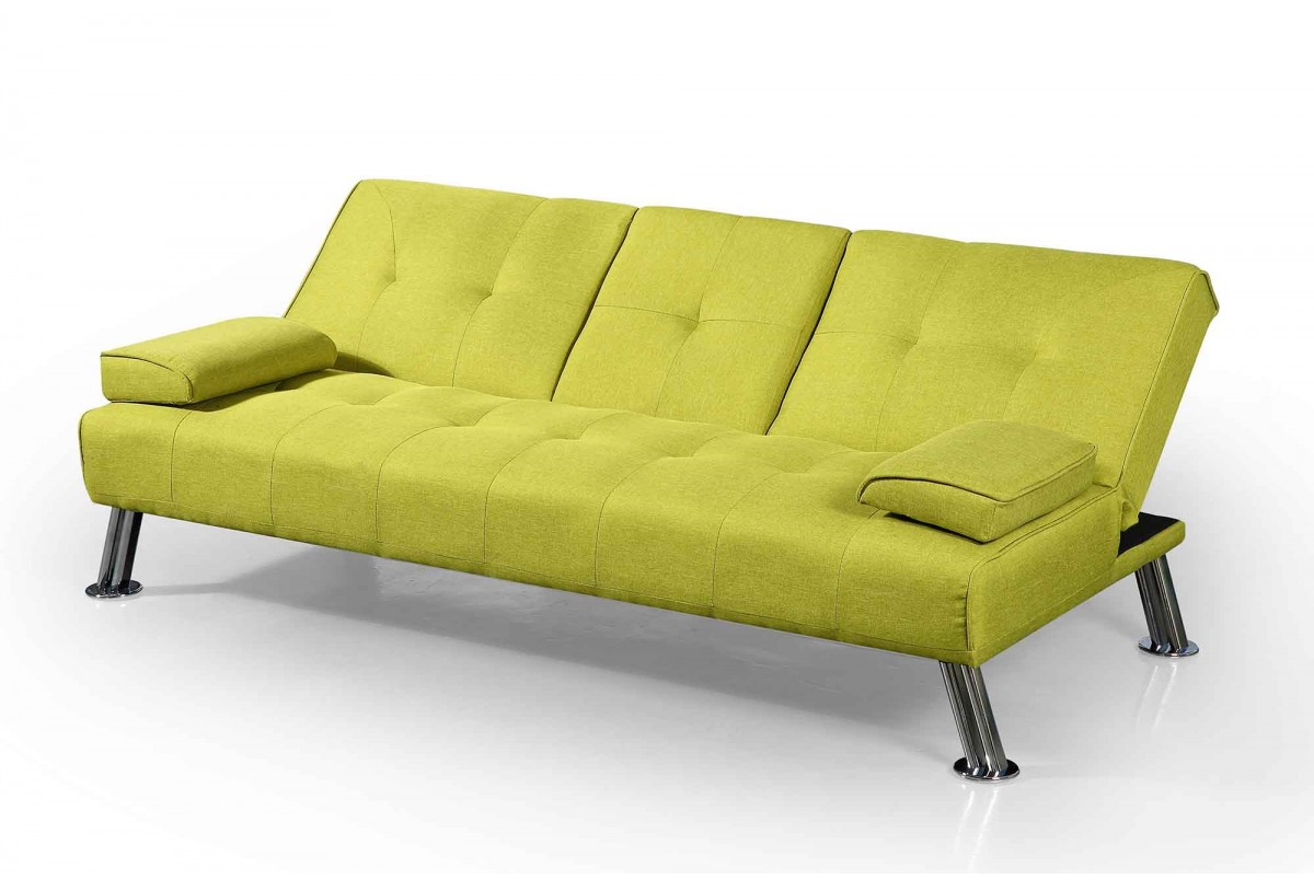 new york upholstered fabric sofa bed with drinks table green