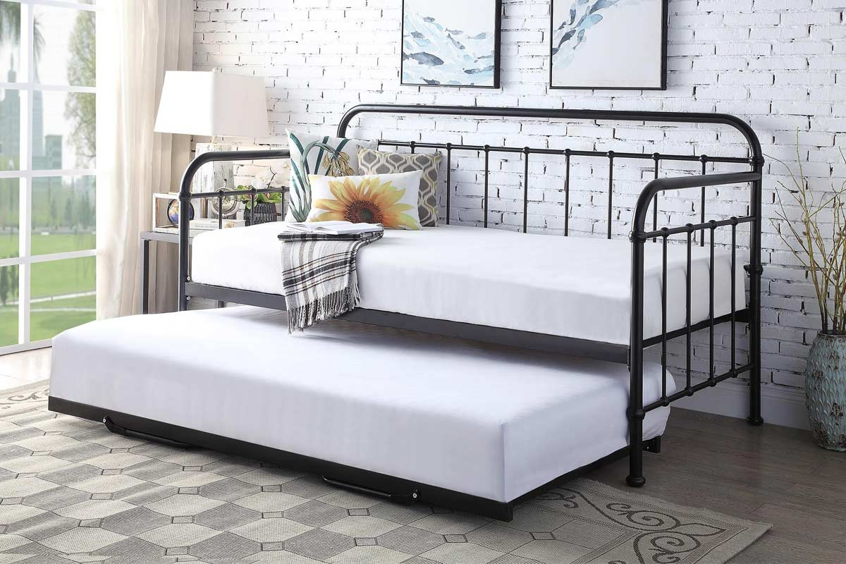 Harlow Black Hospital Style Metal Day Bed with Guest Trundle - Single Size