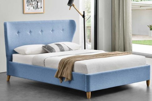 KENSINGTON BLUE FABRIC WINGED KING BED