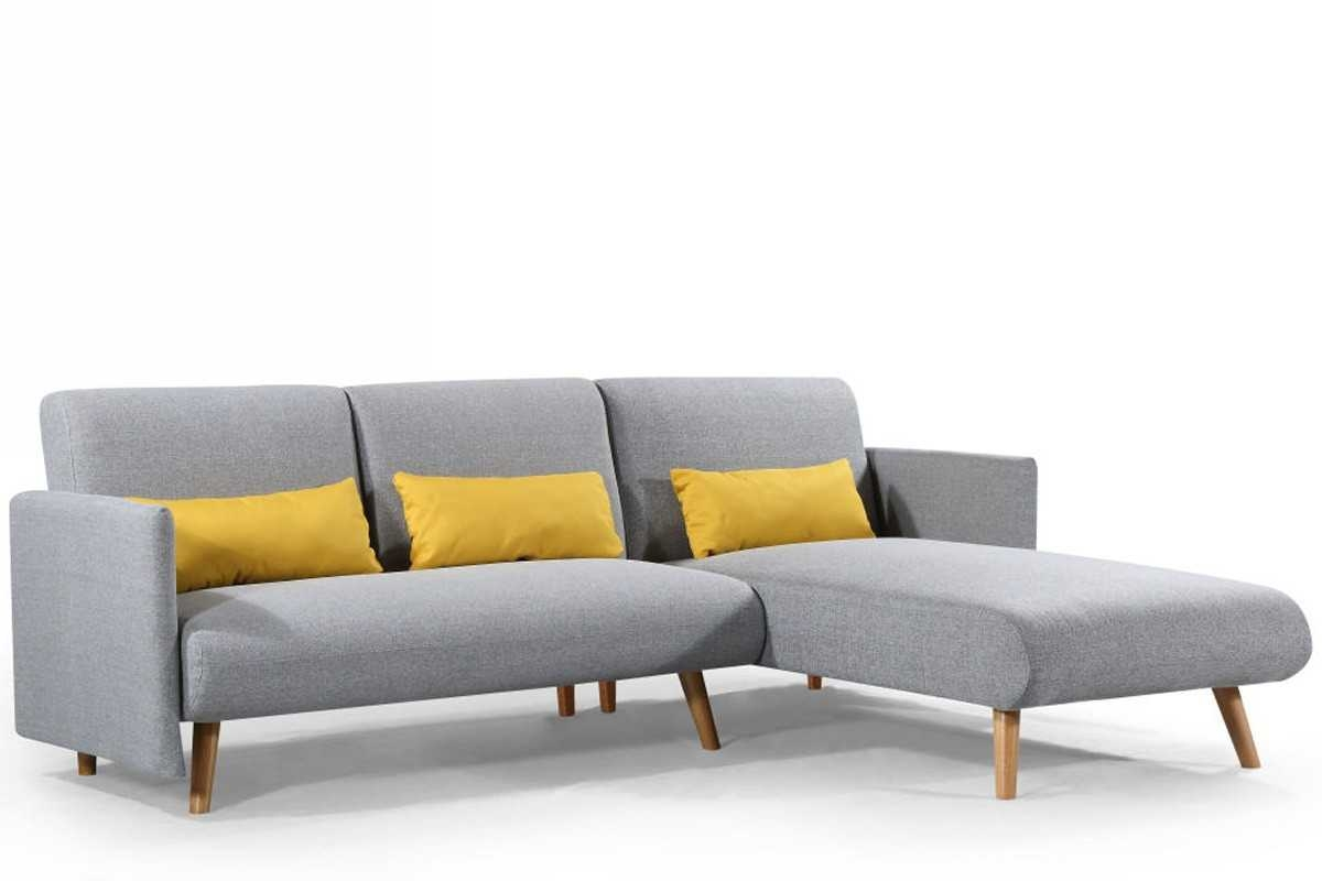 New los angeles light grey fabric corner sofa bed chaise for Chaise corner sofas