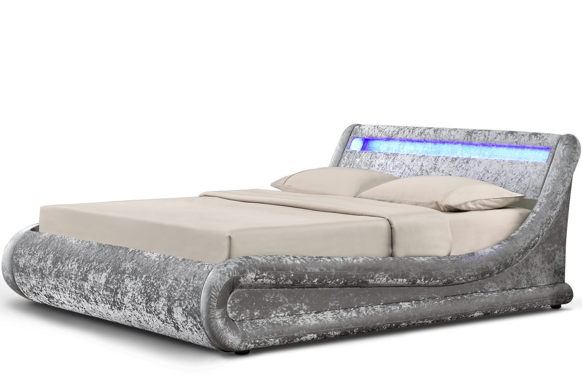 Madrid crushed silver led ottoman single for Stock sofas madrid