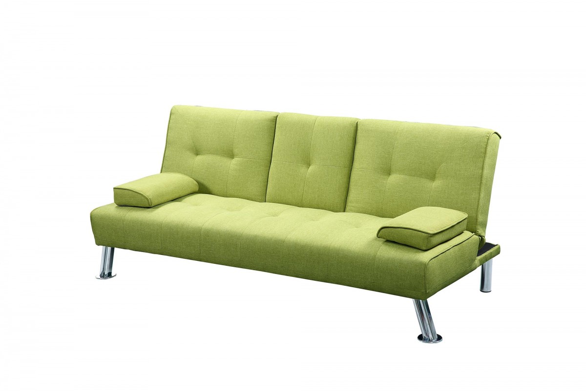 New york upholstered fabric sofa bed with drinks table green for York sofa bed