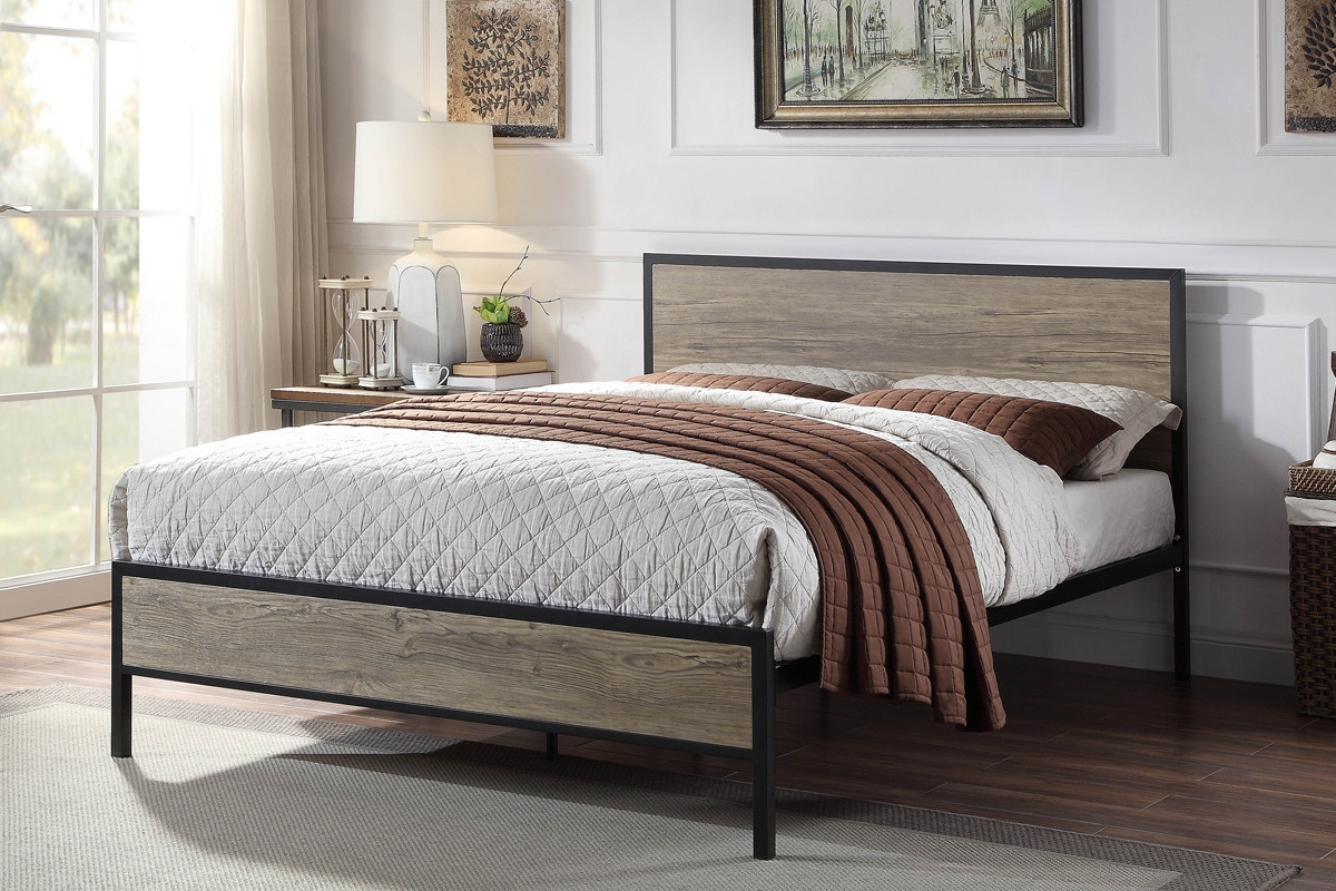 Salisbury Rustic Black Metal & Wooden Double Bed