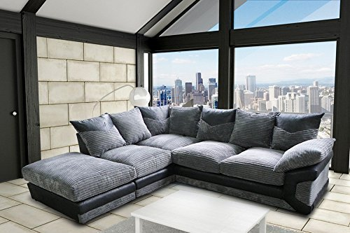 DINO JUMBO LEFT HAND CORNER SOFA BLACK GREY BY NEW YORK SOFA COMPANY