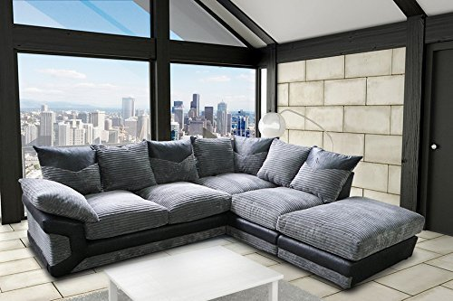 DYLAN JUMBO BLACK GREY RIGHT HAND CORNER SOFA BY NEW YORK SOFA COMPANY