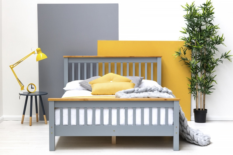 PICKMERE WOODEN GREY DOUBLE BED